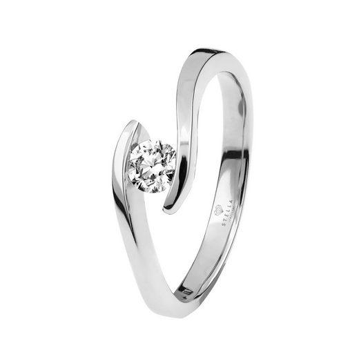 Stella-Jewellery Verlobungsring »375er Weißgold Verlobungsring mit Brillant - Gr.56«, mit Brillant 0,06ct. - Poliert