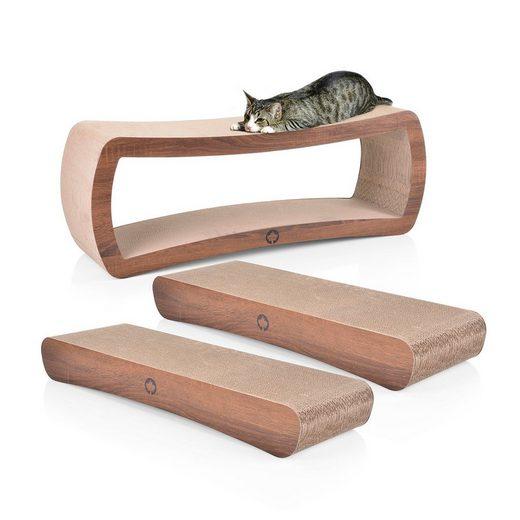Canadian Cat Company Kratzpappe »Set Wave & Galaxy - walnuss«, (Qualitäts-Kratzbrett, XL Kratzmöbel mit Katzenminze), Spar Set