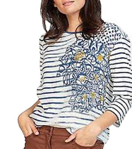 Rabe Shirtbluse »RABE Freizeit-Blusenshirt coole Damen Rundhals-Bluse Mode-Bluse mit Streifenprint Weiß/Blau«