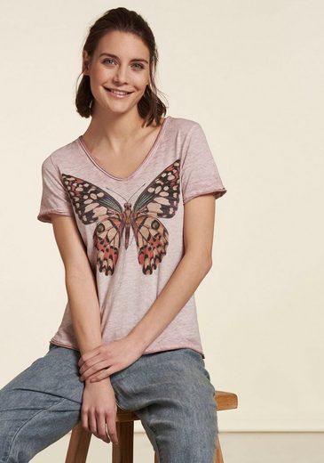 NILE V-Shirt mit großem Schmetterlings-Druck