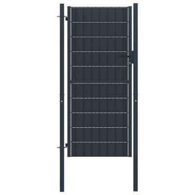 vidaXL Gartentor »vidaXL Zauntor PVC und Stahl 100x164 cm Anthrazit«