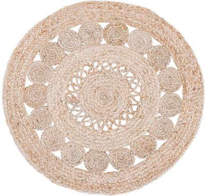 Teppich »Balo«, LUXOR living, rund, Höhe 6 mm, Flachgewebe, handgeflochten, Ø ca. 80 cm, Flecht Design, natürliche Materialien, Boho-Stil, Wohnzimmer