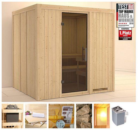 KONIFERA Sauna »Sanna«, 196x170x198 cm, 9 kW Ofen mit int. Strg., Glastür graphit