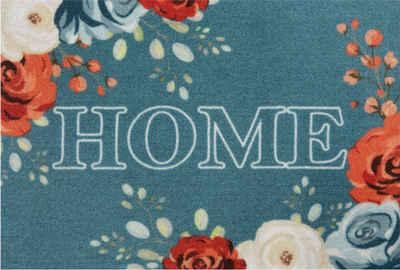 Fußmatte »Flower Home«, HANSE Home, rechteckig, Höhe 7 mm, Schmutzfangmatte, mit Spruch