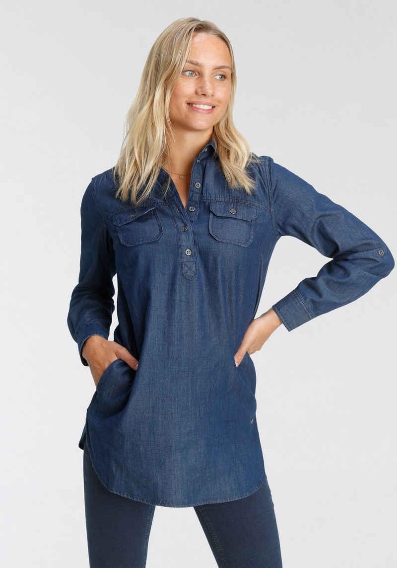Arizona Jeansbluse »Krempelärmel mit Riegel« im Tunikastil