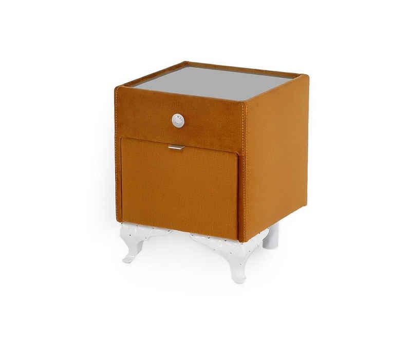 DELIFE Nachtkommode »Renja«, Curry 43x43 beleuchtet Schublade Nachttisch