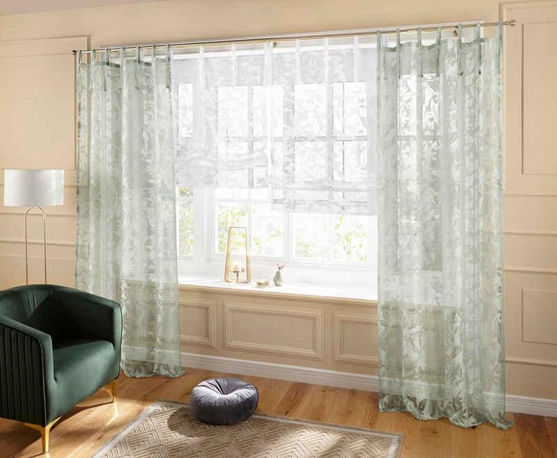 Raffrollo »Glen«, Guido Maria Kretschmer Home&Living, mit Bindebänder, halbtransparent, gewebt, Ausbrenner