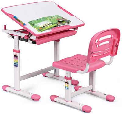 COSTWAY Kinderschreibtisch »Schülerschreibtisch, Kindertisch, Schreibtisch Kinder«, mit Stuhl, höhenverstellbar, neigungsverstellbar, Rosa