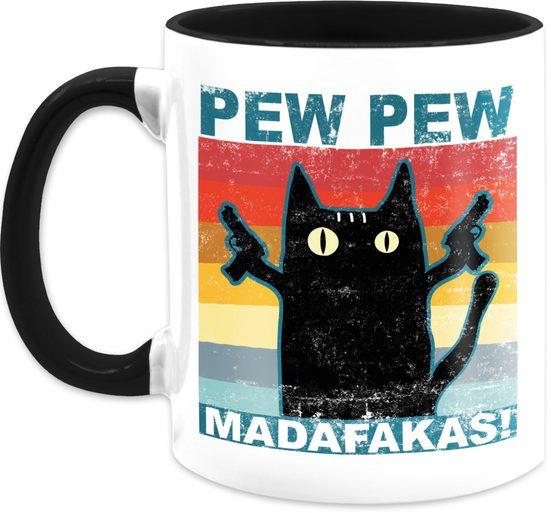 Shirtracer Tasse »Pew Pew Madafakas Katze Vintage - Statement Tasse - Tasse zweifarbig«, Keramik