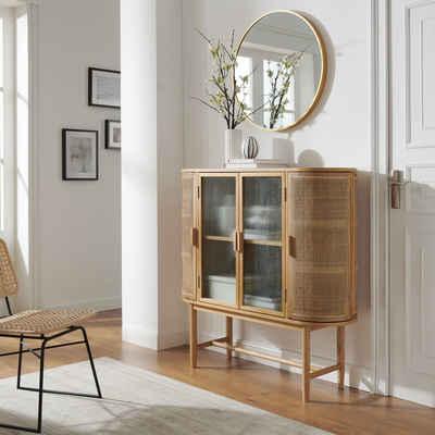 COUCH♥ Sideboard »Umrundung«, Türen mit Rattan-Einsätzen, Glastüren, viel Stauraum, Breite 120 cm