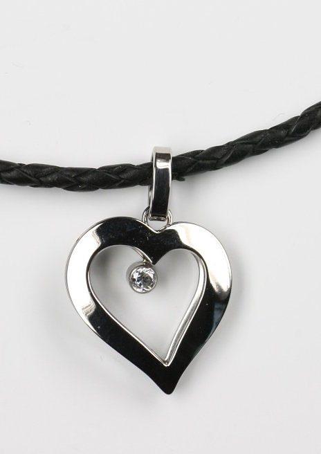 firetti Halsschmuck: Halskette ´´Herz´´ mit Zirkonia und Lederflechtkordel-Band | Schmuck > Halsketten > Herzketten | Firetti