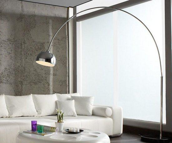 DELIFE Stehlampe »Big-Deal«, Deluxe Silberfarben verchromt dimmbar Bogenleuchte