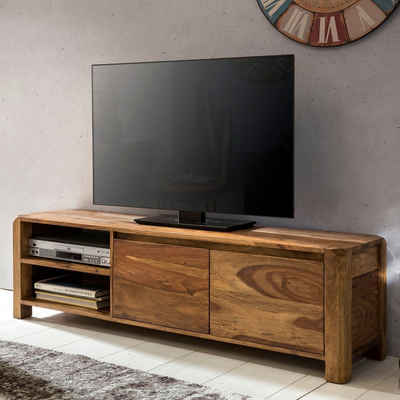 FINEBUY Lowboard »SuVa3517_1«, Lowboard Massivholz Kommode 140 cm TV-Board Ablage-Fächer Landhaus-Stil Unterschrank 40 cm TV-Möbel (FSC® Mix)