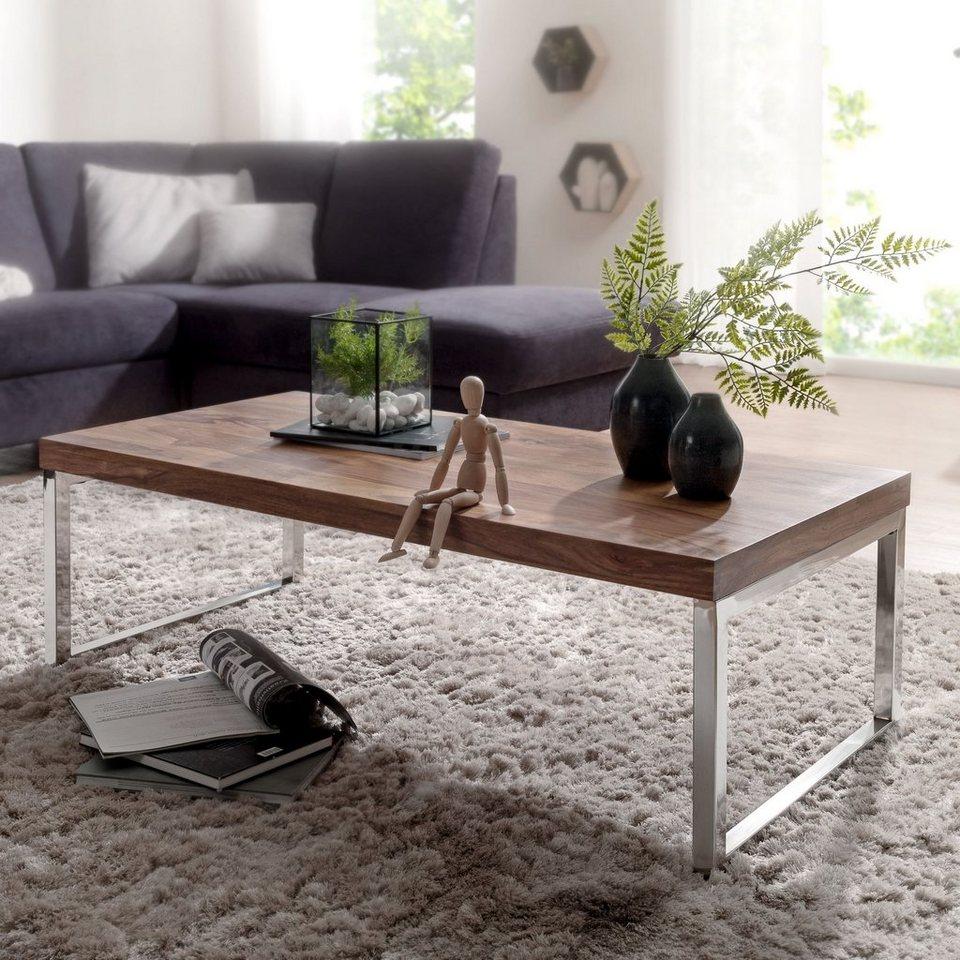 FINEBUY Couchtisch »SuVa45_45«, Couchtisch JAVA 4520 x 45 x 45 cm Massiv  Holz Tisch Massiver Design Wohnzimmertisch aus Massivholz Beistelltisch