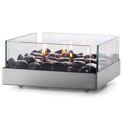 PHILIPPI Tischfeuer »Philippi Fireplace quadratischer Tischkamin aus Edelstahl, Glas und Flusssteine 23 x 23 cm«
