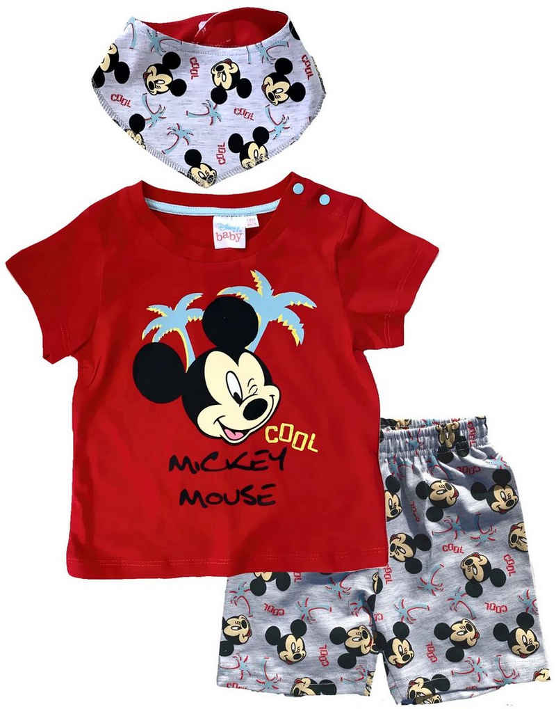 Disney Baby T-Shirt & Bermudas »Mickey Mouse Disney Baby Jungen Set T-Shirt, Shorts + Halstuch 3 Teile Gr.62 68 80 86 92 Kinder 3 6 12 18 24 Monate«