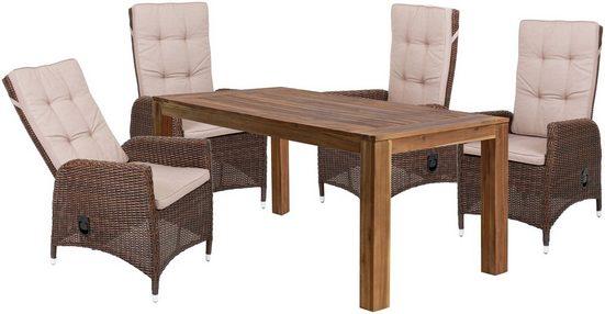 GARDEN PLEASURE Gartenmöbelset »LAVRA«, 9-tlg., 4 Sessel, Tisch, Polyrattan, inkl. Auflagen