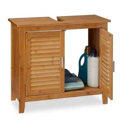relaxdays Waschbeckenunterschrank »Waschbeckenunterschrank LAMELL Bambus«