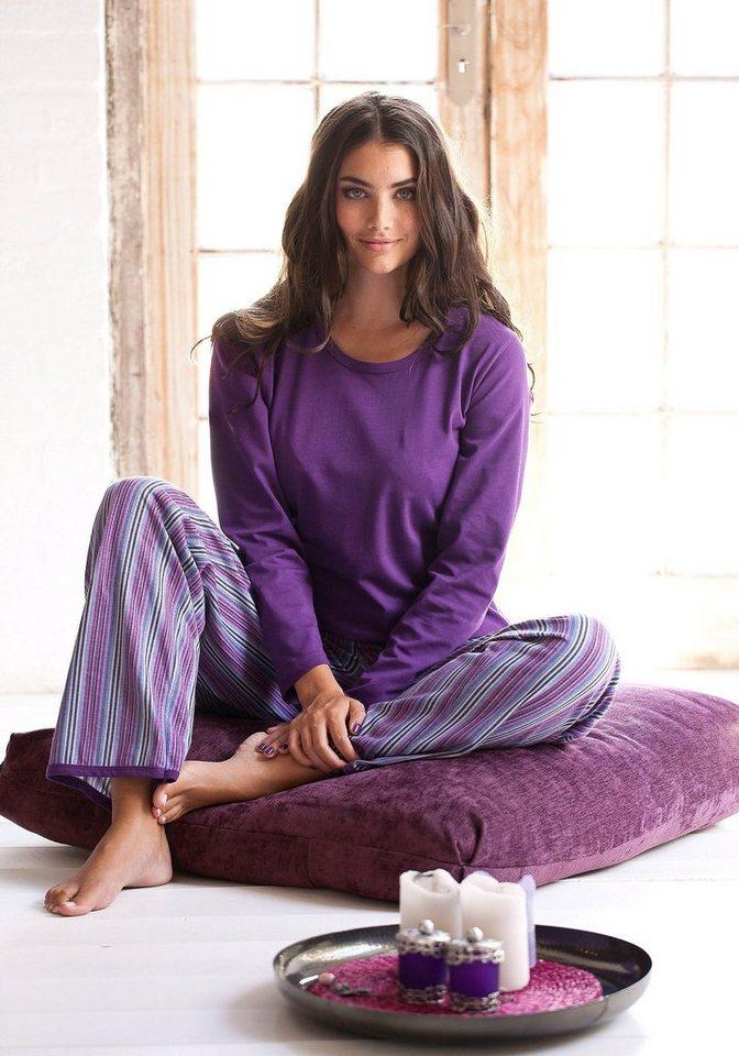 H.I.S Pyjama in lila Streifendesign mit Langarmshirt in lila gestreift