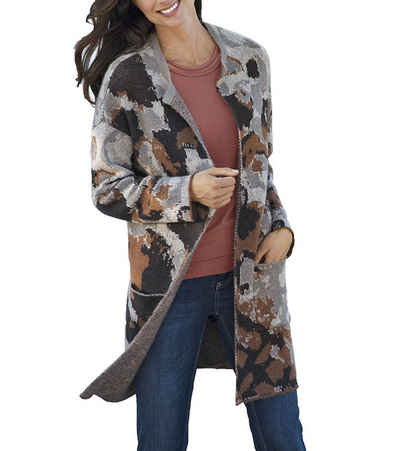 VIA APPIA Outdoorjacke »VIA APPIA Strick-Jacke stylische Damen Langarm-Jacke Freizeit-Jacke aus Mohair Braun/Grau«