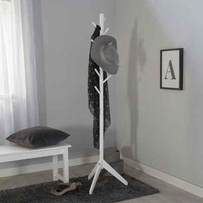 Homestyle4u Kleiderständer »Kleiderständer weiß Garderobe Holz«