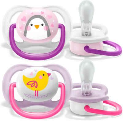 Philips AVENT Schnuller »SCF080/06«, ultra air Schnuller, 0 bis 6 Monate Girl, Kiefergerecht und BPA-frei, Doppelpack, Pinguin/Vogel