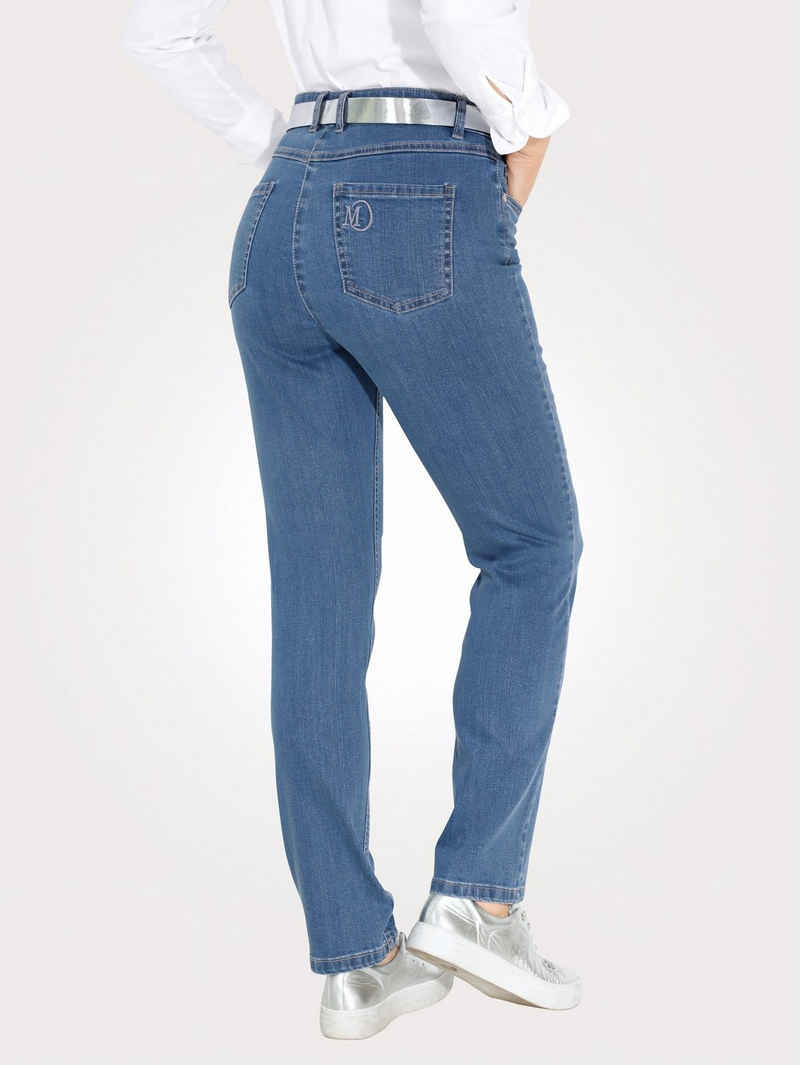 Mona 5-Pocket-Jeans mit Logostickerei