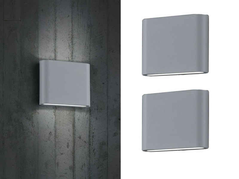 meineWunschleuchte LED Außen-Wandleuchte, 2-er Set Fassaden-Beleuchtung für Haus-Wand up and down, Grau, Terrasse, Hausbeleuchtung, Außen-Wandlampe, Außen-Lampe, Außen-Leuchte draußen