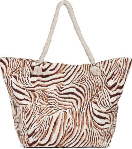 styleBREAKER Strandtasche, Strandtasche Zebra Muster