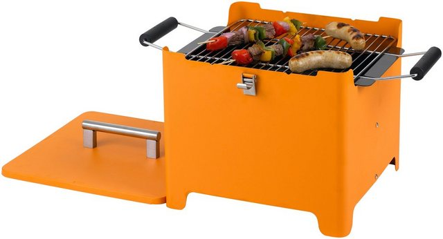 Tepro Holzkohlegrill Chill & Grill Cube Orange 31,5 x 31,5 cm