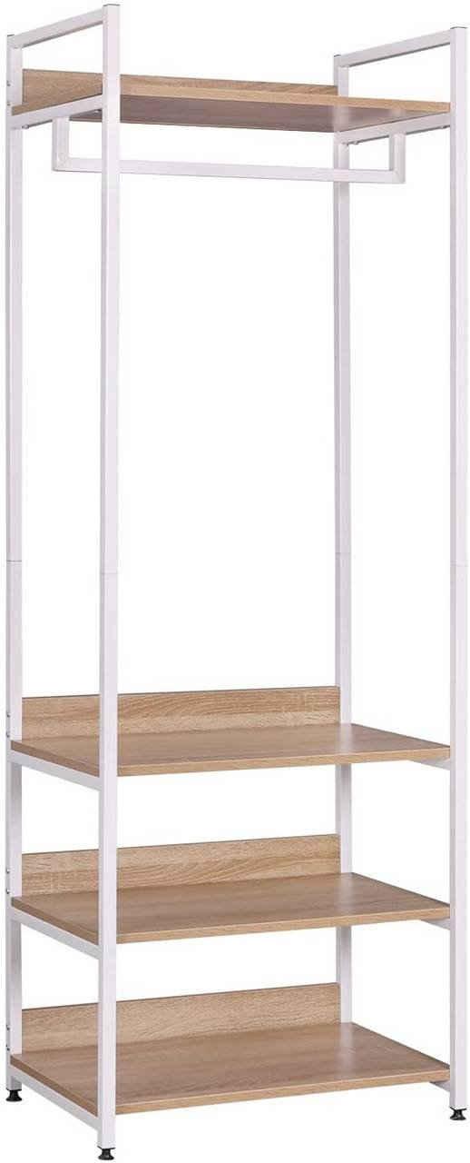 Woltu Kleiderständer »SR0130whe-MA«, mit Regal Kleiderschrank Offener mit Schuhregal Garderobenständer für Schlafzimmer, Holz und Stahl Hell Eiche+Weiß