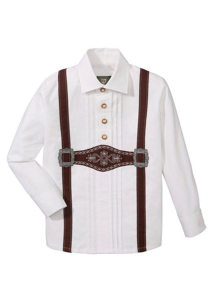 Herren,  Kinder OS-Trachten Trachtenhemd Kinder mit aufgenähter Hosenträger-Applikation weiß | 04062143086620