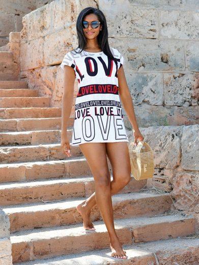 Alba Moda Strandshirt mit dekorativem Schriftdruck