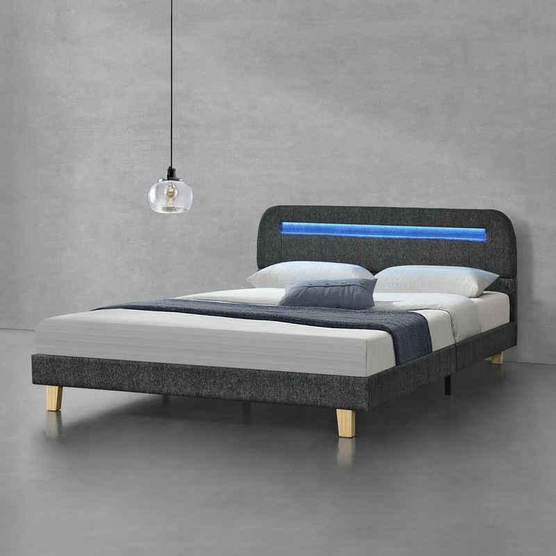 en.casa Polsterbett, »Roskilde«140x200cm Doppelbett mit LED Beleuchtung Jugendbett LED Bett Leinen Dunkelgrau