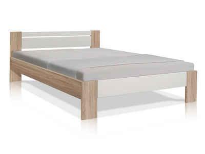 Moebel-Eins Futonbett, VEGAS Komplett-Set Futonbett 140x200 cm inkl. Rollrost und Matratze, Material Dekorspanplatte, Eiche sonomafarbig/weiss