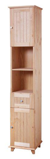 welltime Hochschrank »Venezia Landhaus« Breite 33 cm, aus hochwertigem Echtholz