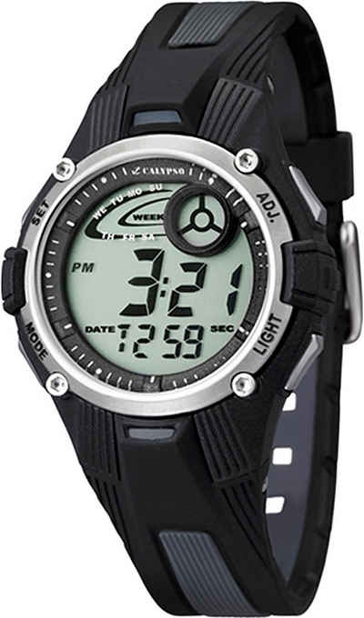 CALYPSO WATCHES Digitaluhr »UK5558/6 Calypso Kinder Uhr K5558/6 Kunststoffband«, (Digitaluhr), Damen/Herren Armbanduhr rund, PURarmband schwarz, Sport