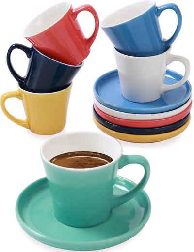 Cosumy Espressotasse »6 Espressotassen Farbig«, Keramik, Espressotassen 6er Set Bunt mit Untertassen - Keramik - Hält Lange Warm - Moderner Farbmix - Geschenkbox - 70ml