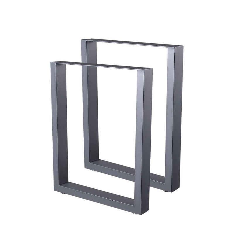 Zelsius Tischbein »Zelsius Tischkufen 2er Set (B) 60 x (H) 72 cm, Metall Tischbeine, grau«