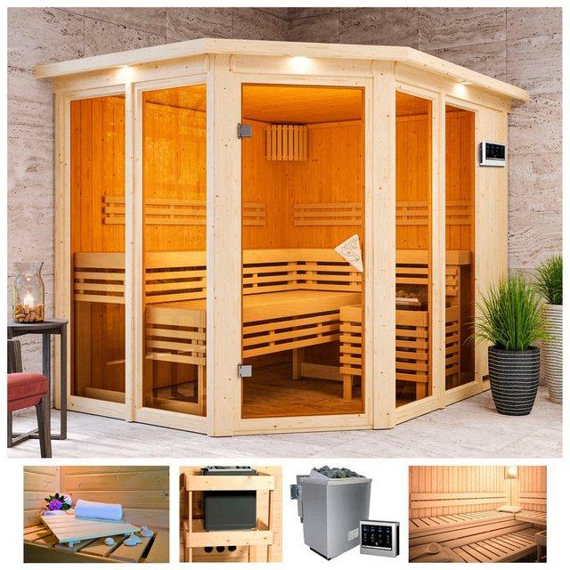 Saunen und Zubehör - KARIBU Sauna »Aaina 3«, 245x210x202 cm, 9 kW Bio Ofen mit ext. Steuerung, Dachkranz  - Onlineshop OTTO