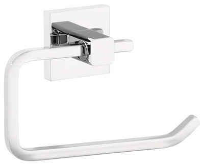 tesa Toilettenpapierhalter »DELUXXE Toilettenpapierhalter, ohne Deckel, Metall, verchromt, inkl. Klebelösung« (1-St), Kein Bohren, Rostfrei