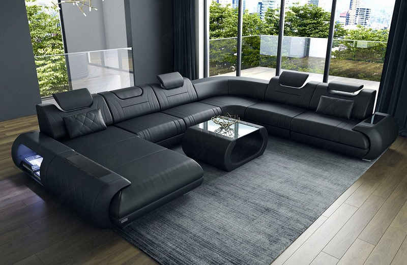 Sofa Dreams Wohnlandschaft »Rimini«, XXL U Form Ledersofa mit LED, wahlweise mit Bettfunktion als Schlafsofa, Designersofa