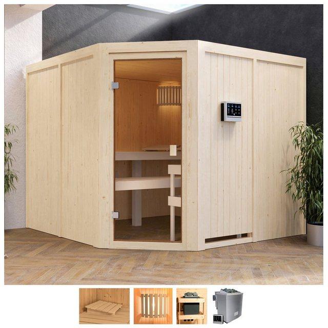 Saunen und Zubehör - Karibu Sauna »Evka«, BxTxH 231 x 231 x 198 cm, 68 mm, 9 kW Bio Ofen mit ext. Steuerung  - Onlineshop OTTO