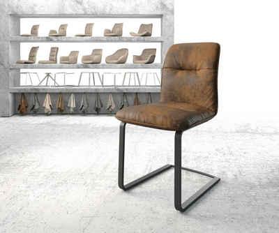 DELIFE Esszimmerstuhl »Vinjo-Flex«, Freischwinger flach schwarz Vintage Braun