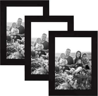 CABBEL Bilderrahmen, für 3 Bilder (3 Stück), 3er Set Bilderrahmen 10x15 MDF Holz-Rahmen mit bruchsicherem Acrylglas in Schwarz