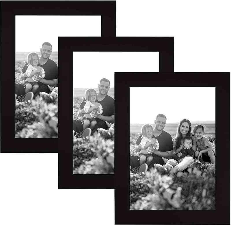 CABBEL Bilderrahmen, für 3 Bilder (Spar-Set, 3 Stück), 3er Set Bilderrahmen 10x15 MDF Holz-Rahmen mit bruchsicherem Acrylglas in Schwarz