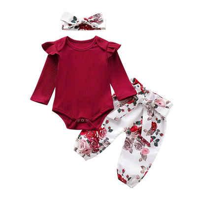LAPA Shirt, Leggings & Haarband »Baby Strampler Einfarbig Langarm Strampler + Hose + Kopfbedeckung Dreiteiliges Set«