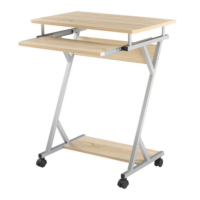 en.casa Schreibtisch| Rollbarer Schreibtisch »Gent« - 60x40x75cm - Eiche-Optik | Büro | en.casa