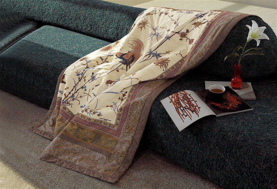 Plaid, Bassetti, »Fong«, im Asien-Stil in mint-natur
