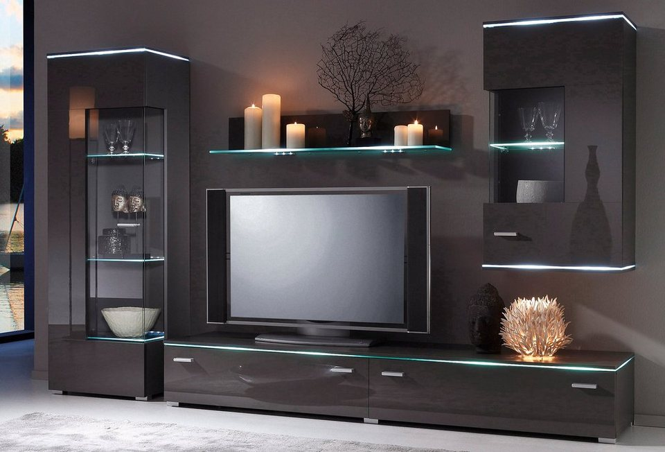 wohnwand wei grau hochglanz. Black Bedroom Furniture Sets. Home Design Ideas